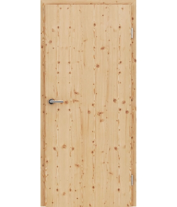 Veneered interior door with longitudinal structure GREENline – Larch knotty brushed matt stained lacquered