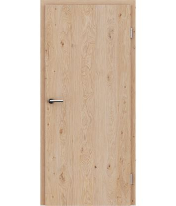 Veneered interior door with longitudinal structure GREENline – Oak knotty brushed white-oiled