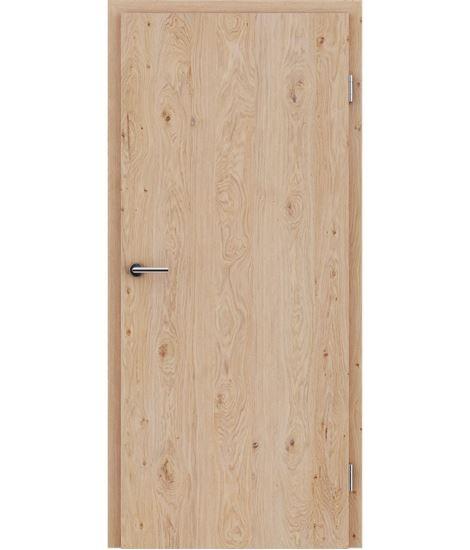 Veneered interior door with longitudinal structure GREENline – Oak knotty brushed white-oiled