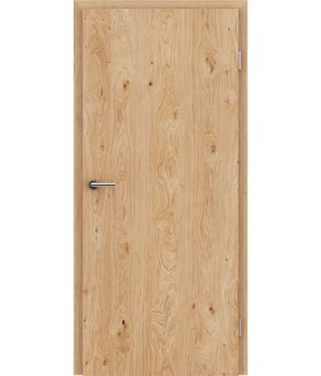 Veneered interior door with longitudinal structure GREENline – Oak knotty brushed naturally lacquered