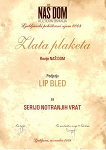 Picture of Gold Plaque awarded by the Slovene magazine NAŠ DOM