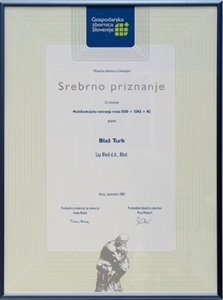 Picture of Silver Prize 2007 awarded by the Slovene Chamber of Industry and Commerce for the best innovation in the Gorenjska region (Slovene Alpine region)