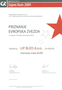 "Picture of 1st prize, ""European Star 2009"", for the multifunctional door leaf and frame ""Maple Grafit"""