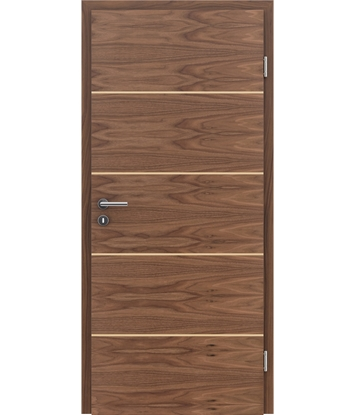 Veneered interior door with a combination of a transverse and longitudinal structure VIVCEline – F11 walnut, strip Maple