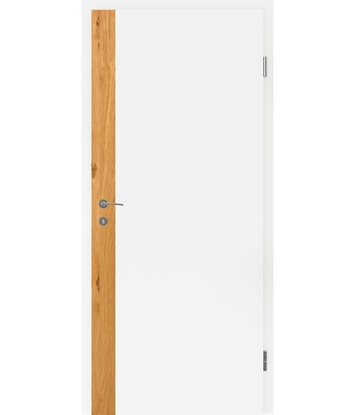 White-lacquered interior door BELLAline – F5R33L white-lacquered, oak knotty strip