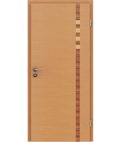 Veneered interior door with intarsia strips HIGHline – I17 Beech, intarsia strip Indian apple and Maple
