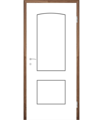Picture of White-lacquered interior door with grooves COLORline – MODENA R14L