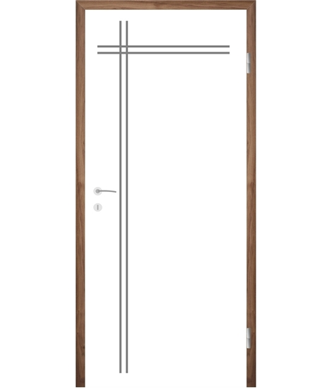 White-lacquered interior door with grooves COLORline – MODENA R24L
