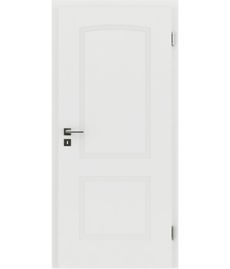 White-lacquered interior door with a relief-like surface and a curve KAISERline – R40L, white-lacquered