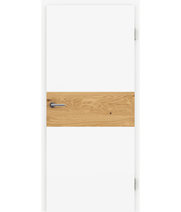 Picture of White-lacquered interior door BELLAline – I39R72L white-lacquered, oak knotty strip