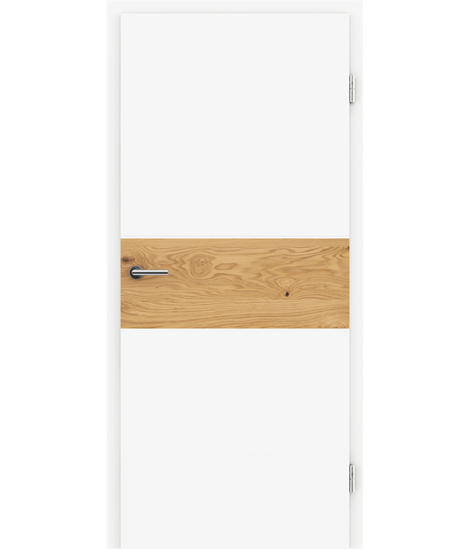 White-lacquered interior door BELLAline – I39R72L white-lacquered, oak knotty strip
