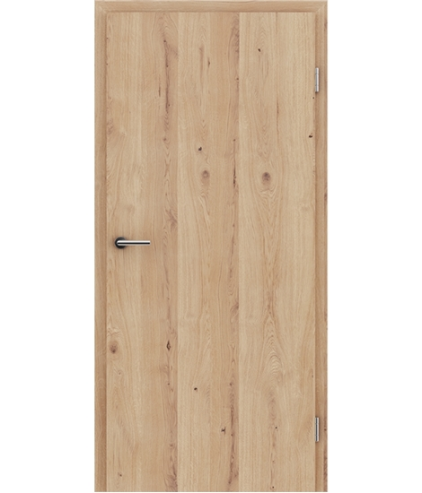 Veneered interior door with longitudinal structure GREENline - oak knotty cracked brushed matt stained lacquered