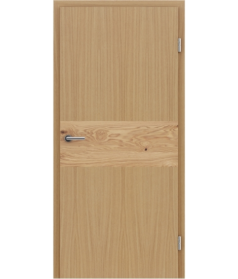 Veneered interior door with intarsia strips HIGHline – I39 oak, strip oak knotty