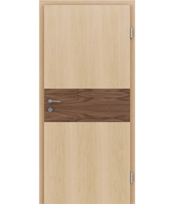 Picture of Veneered interior door with intarsia strips HIGHline – I39 Maple, strip Walnut