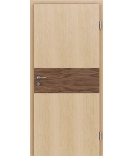 Veneered interior door with intarsia strips HIGHline – I39 Maple, strip Walnut