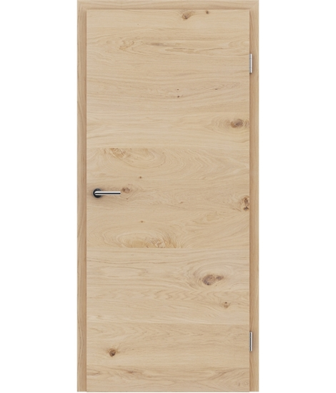 Veneered interior door with a combination of a transverse and longitudinal structure VIVCEline - F4 oak knotty white-oiled