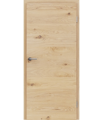 Veneered interior door with a combination of a transverse and longitudinal structure VIVCEline - F4 oak knotty brushed white-oiled