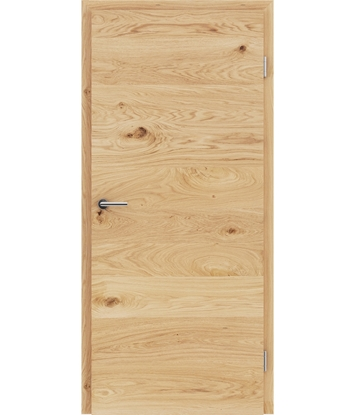 Veneered interior door with a combination of a transverse and longitudinal structure VIVCEline - F4 oak knotty brushed naturally lacquered