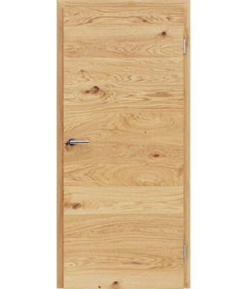 Veneered interior door with a combination of a transverse and longitudinal structure VIVCEline - F4 oak knotty brushed oiled