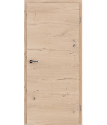 Veneered interior door with a combination of a transverse and longitudinal structure VIVCEline - F4 oak knotty cracked white-oiled
