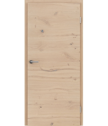 Veneered interior door with a combination of a transverse and longitudinal structure VIVCEline - F4 oak knotty cracked brushed white-oiled