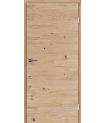 Picture of Veneered interior door with a combination of a transverse and longitudinal structure VIVCEline - F4 oak knotty cracked brushed matt stained lacquered