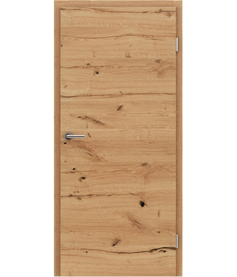 Veneered interior door with a combination of a transverse and longitudinal structure VIVCEline - F4 oak knotty cracked naturally lacquered