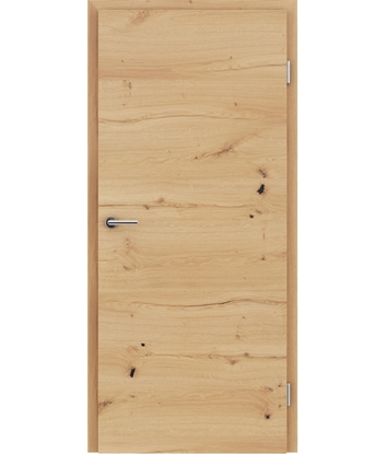 Veneered interior door with a combination of a transverse and longitudinal structure VIVCEline - F4 oak knotty cracked oiled