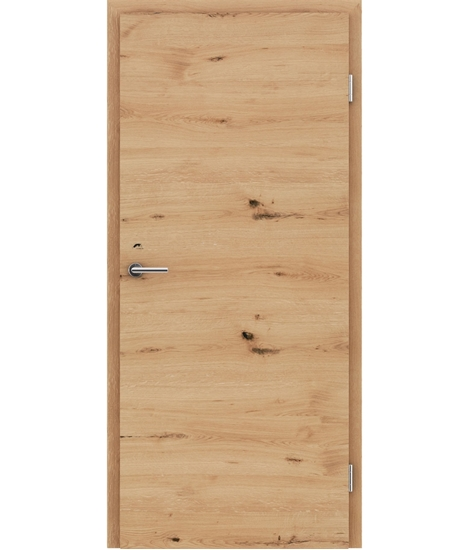 Veneered interior door with a combination of a transverse and longitudinal structure VIVCEline - F4 oak knotty cracked brushed naturally lacquered