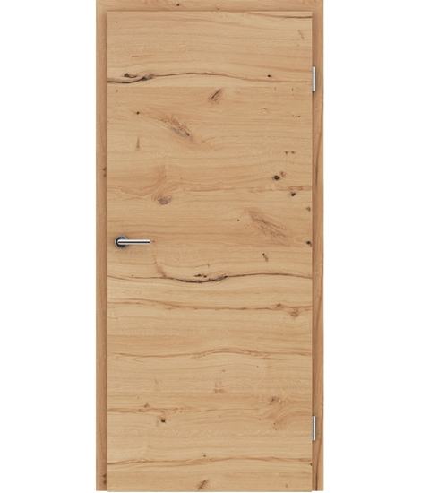 Veneered interior door with a combination of a transverse and longitudinal structure VIVCEline - F4 oak knotty cracked brushed oiled
