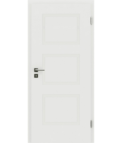White-lacquered interior door with a relief-like surface KAISERline – R49L, white-lacquered
